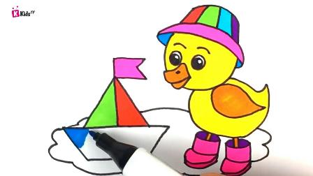 幼儿学画画,手把手教学水彩简笔多色彩可爱小黄鸭,海马,大城堡