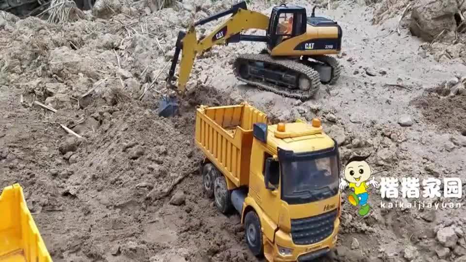 工程车玩具_挖土机动画片_挖掘机工作视频_大吊车搅拌车玩具
