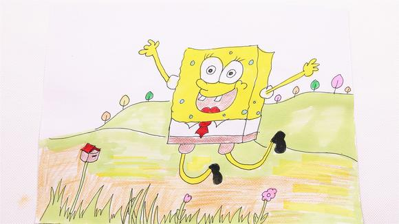 小爱的手作日记 彩笔画出可爱的海绵宝宝