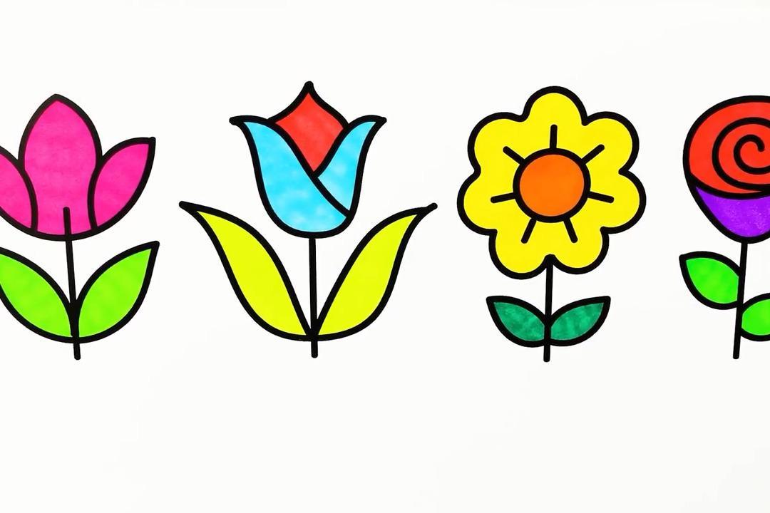 视频:幼儿早教简笔画,简单的画小花朵并学填色