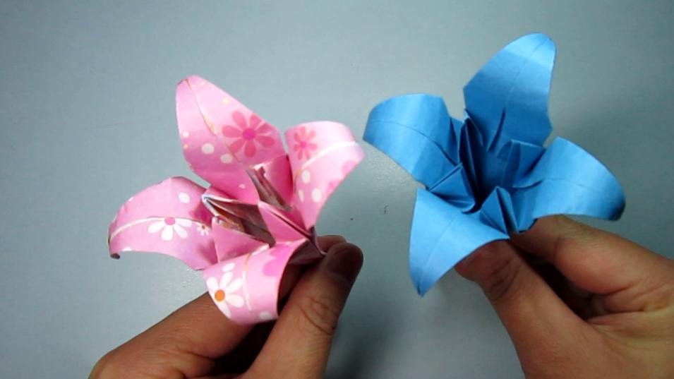 儿童手工折纸花:简单的百合花折法