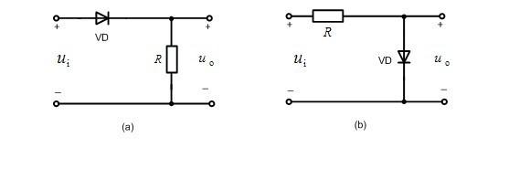 设二极管为理想的,已知u1=30sinwt(v),试分别画出输出电压u0的波形,并