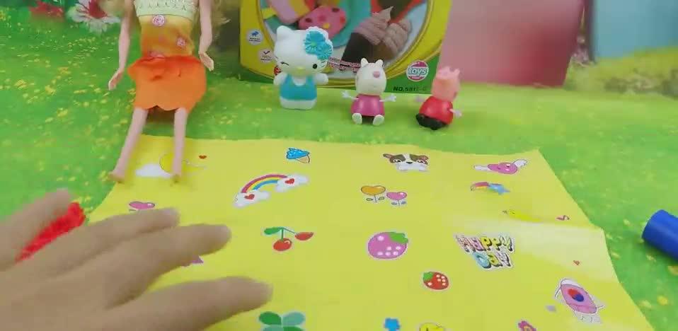 小猪佩奇彩泥冰淇淋_芭比娃娃小公主苏菲亚玩具