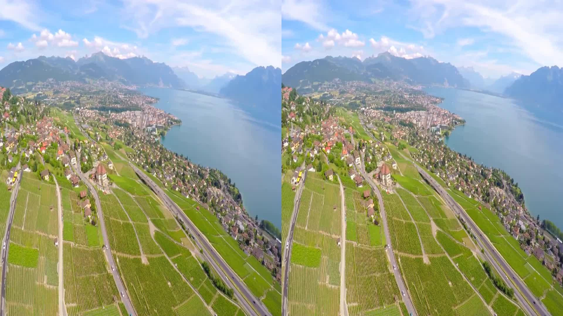 瑞士拉沃葡萄园梯田风景区3d版,vr视频虚拟和现实旅游风景