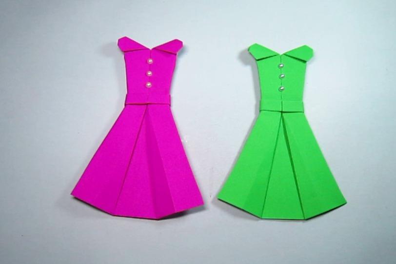 视频:折纸大全简单又漂亮连衣裙,一张纸几个步骤学会裙子的折法