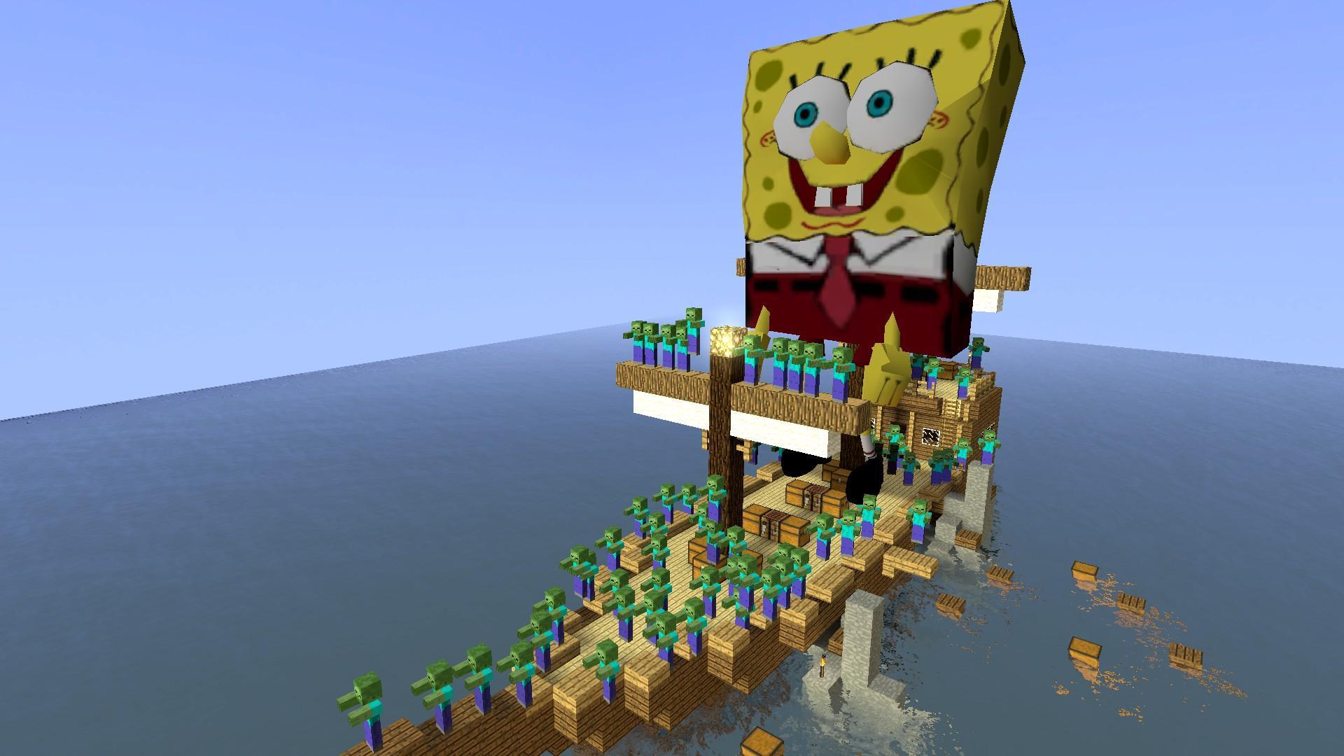 我的世界镇压海盗船僵尸的海绵宝宝