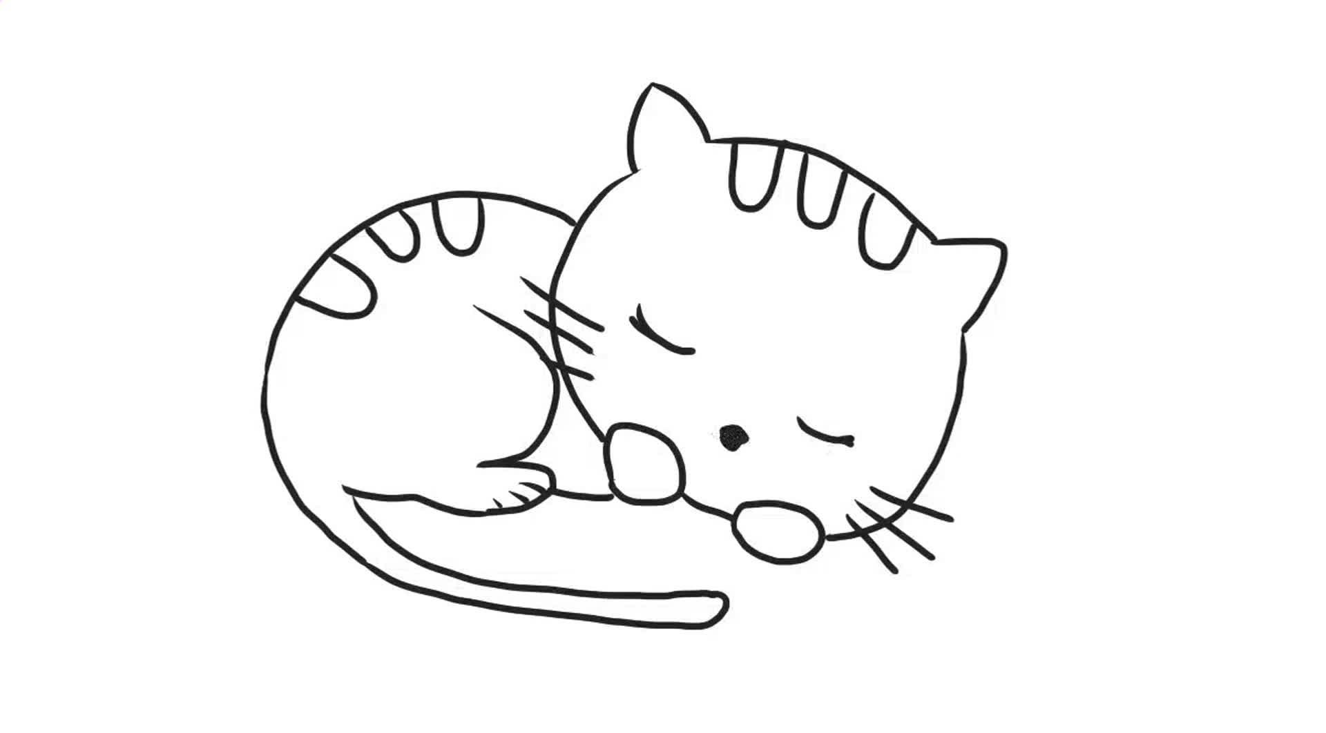 可爱的小猫咪睡觉幼儿亲子简笔画 宝宝轻松学画画
