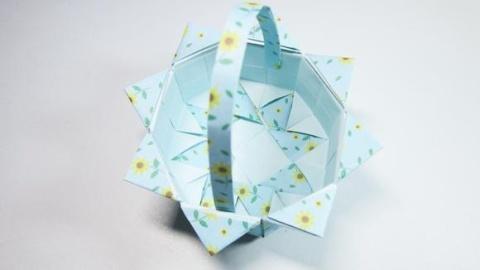 怎么折纸小篮子,小学生手工简单又漂亮小花篮的折法