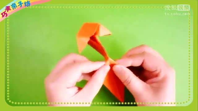 亲子趣味折纸_猫捉老鼠之立体小猫的折法_看完就能学会