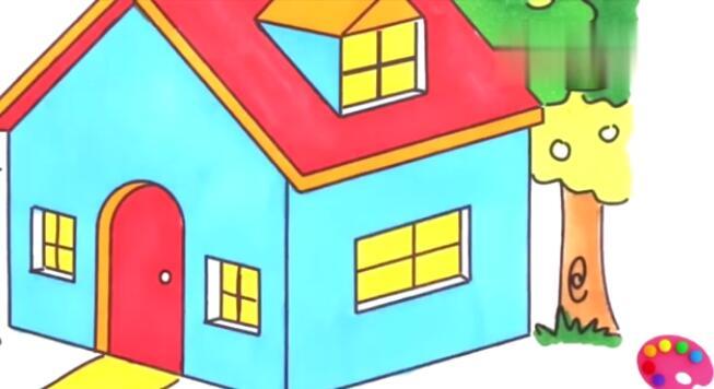 彩虹小房子简笔画彩绘颜色学习