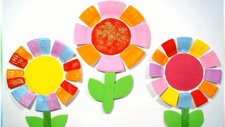 幼儿手工diy,一次性纸盘和颜料制作一朵七色花朵