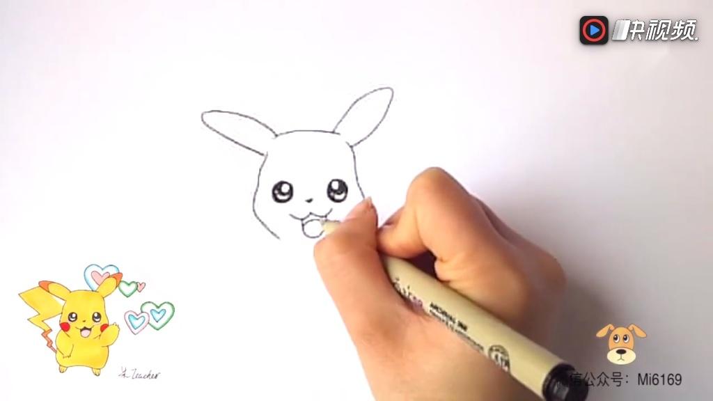 一幅漂亮的简笔画皮卡丘,小朋友们喜欢吗,一起动手画画吧!