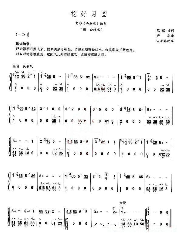 谁有古筝曲谱《花好月圆》/简谱