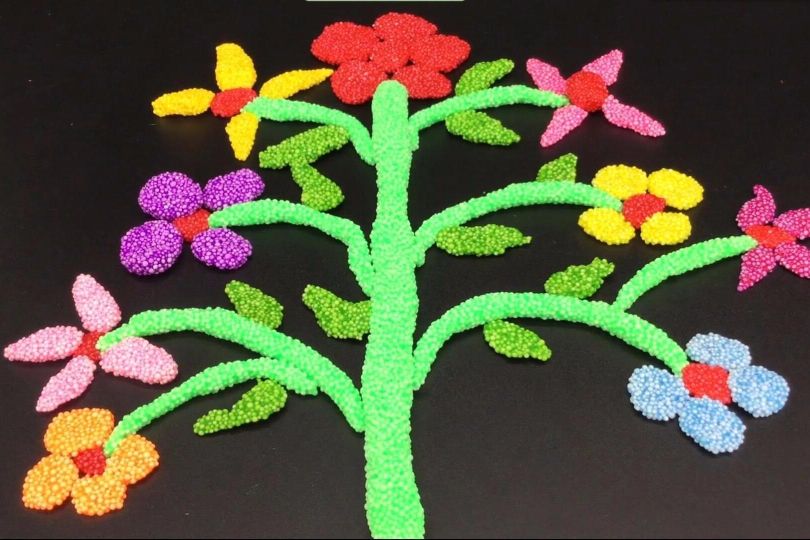 雪花泥粘土手工制作五颜六色花朵
