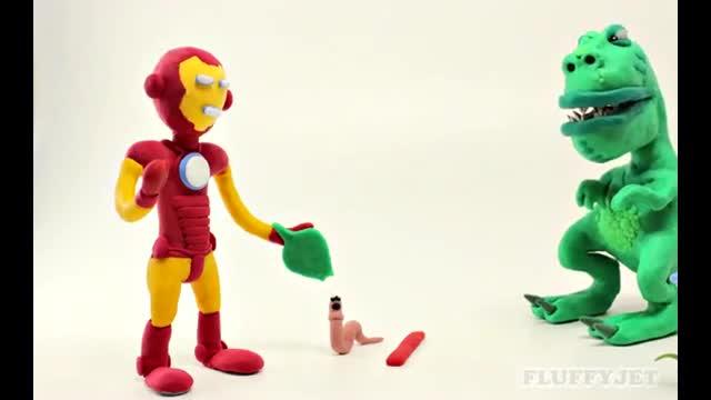 橡皮泥趣动画:画旺旺队和神奇女侠玩玩_7