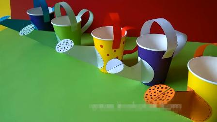 幼儿手工diy,简单剪纸用一次纸杯制作一个小喷壶