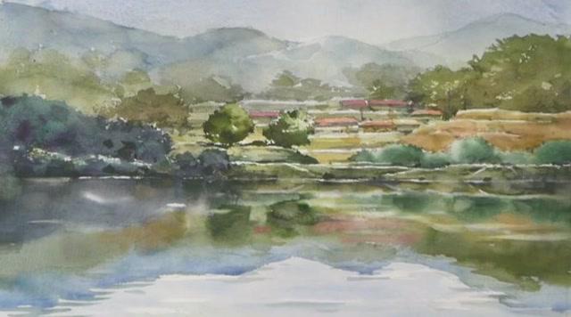 水彩画欣赏:美丽的乡村风景画,步骤简单一学就会