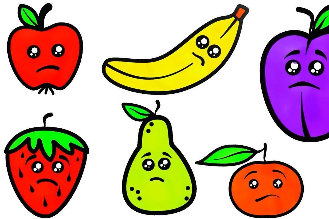 幼儿早教画画,手把手教孩子简笔画水果,一组带有倒霉表情水果图