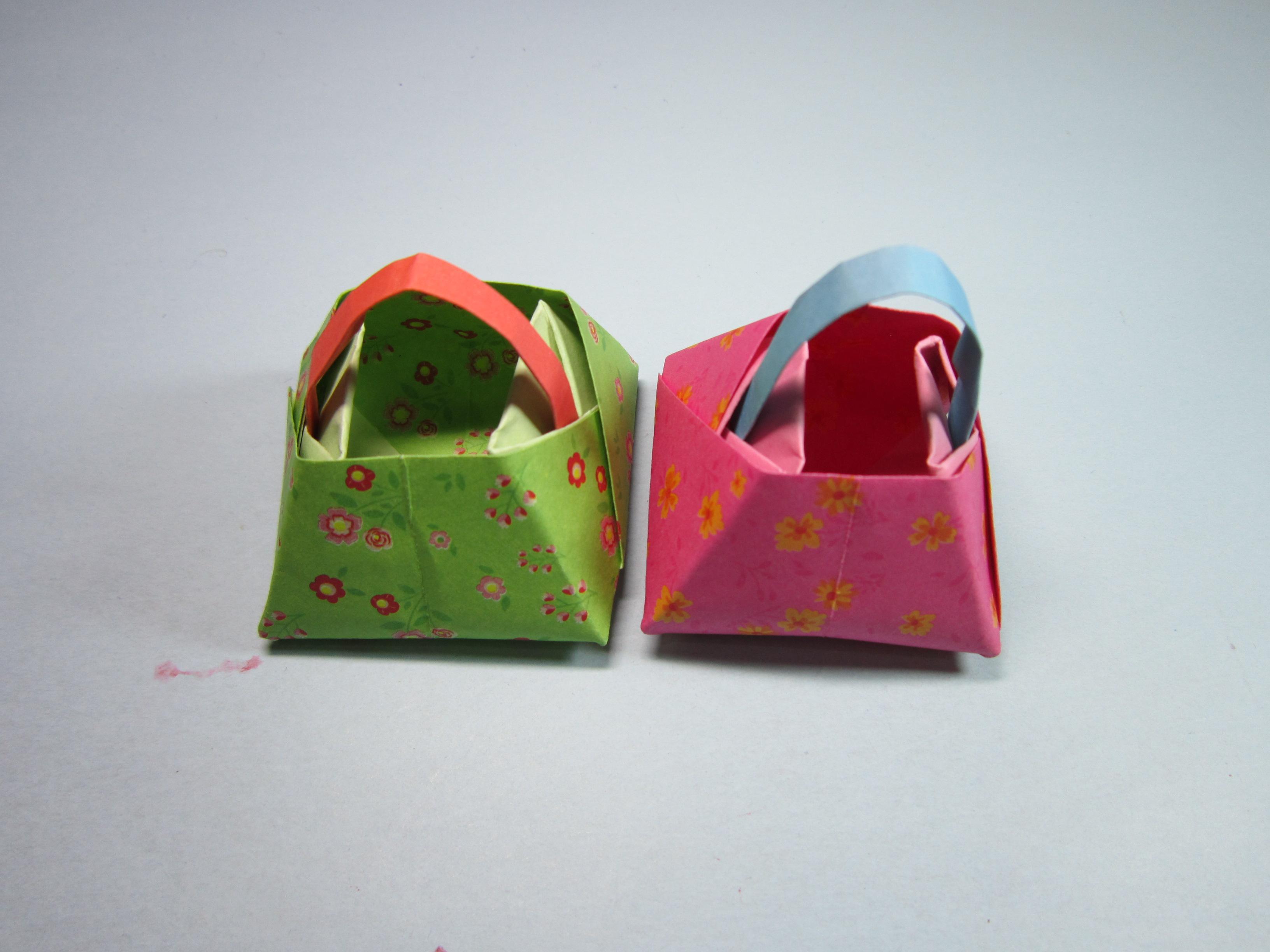 儿童手工折纸篮子,4分钟学会简单又漂亮的手提小花篮折法-折纸大全.