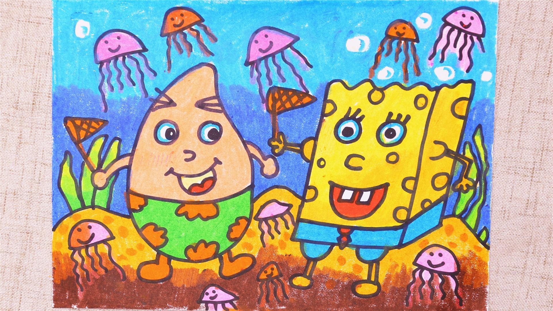 小爱的手作日记 儿童画海绵宝宝和派大星-小爱的简笔画-淘趣工坊