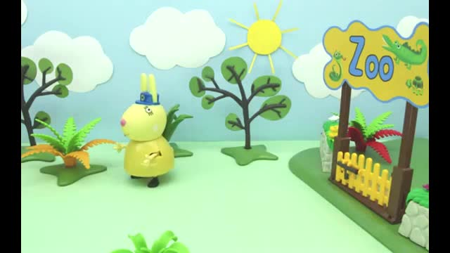 橡皮泥趣动画:小猪佩奇运输大鳄鱼去动物园