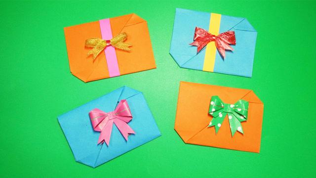 幼儿园手工折纸,简单的信封式贺卡,节日送妈妈送老师送小朋友