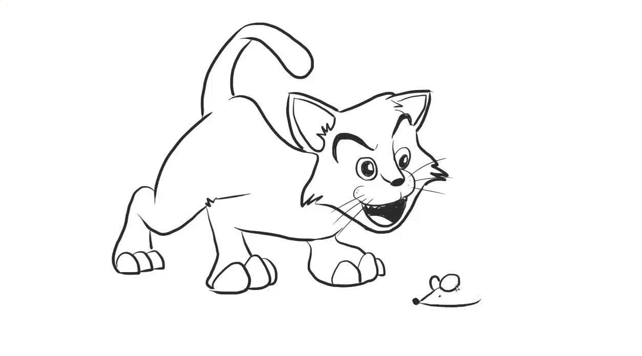 猫和老鼠幼儿亲子简笔画 宝宝轻松学画画-绘心儿童绘画教程-绘心儿童