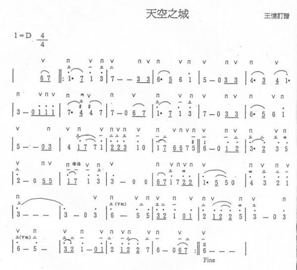 天空之城入门钢琴简谱