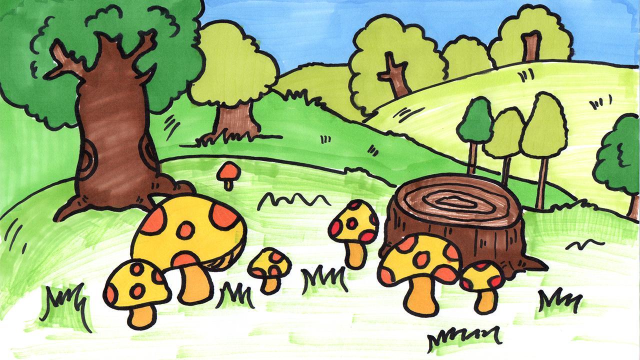 儿童简笔画 美丽的森林