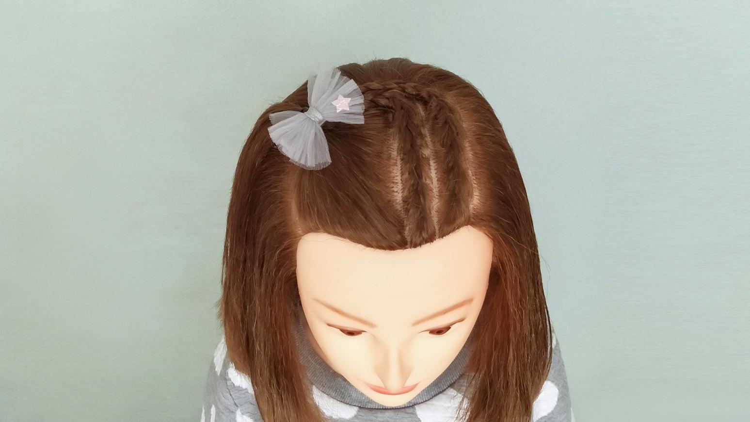 刘海蜈蚣辫编发教程 儿童简单发型扎法