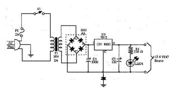 2,lm317自制定压充电器,使用lm317调压到12.6伏.如下图.