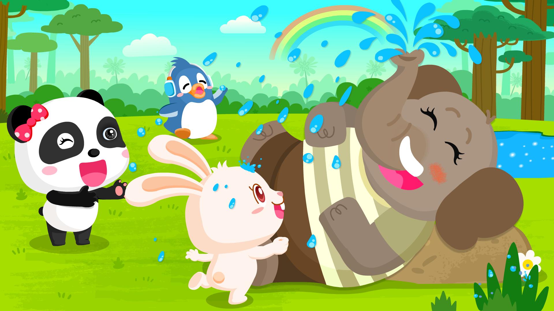 宝宝巴士动物世界大象用鼻子喷水,调皮戏水的样子萌翻众人