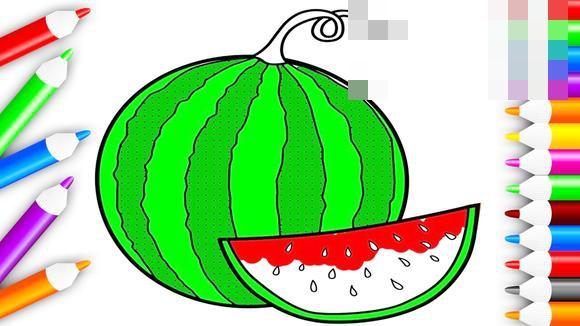 视频-唱儿歌画简笔画:绿色的大西瓜红色的西瓜瓣