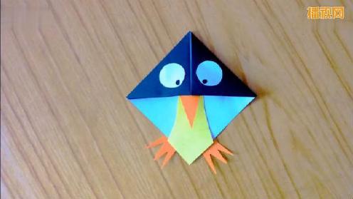 儿童折纸教学 企鹅书签的折法 步骤简单 幼儿园手工折纸大全