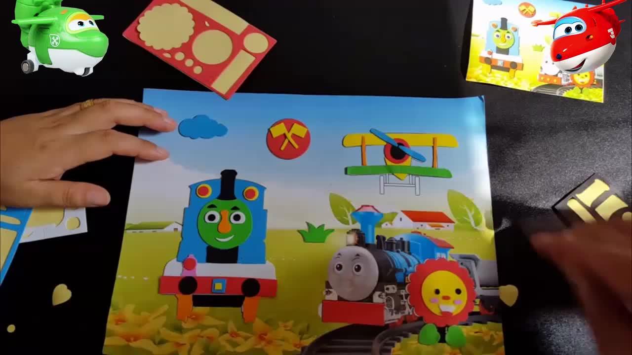 3452奥特曼乐迪亲子儿童手工制作托马斯小火车小猪佩奇立体贴画