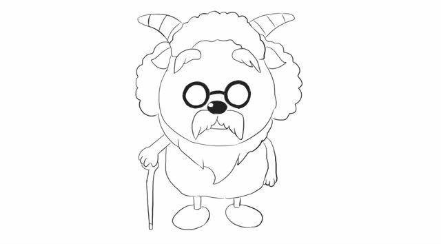 [小林简笔画]绘画动画片《喜羊羊与灰太狼》中的村长卡通动漫简笔.