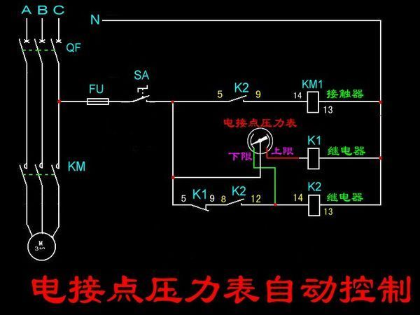 原理  一个交流接触器,两个52p中间继电器,一个电接点压力表如何控制