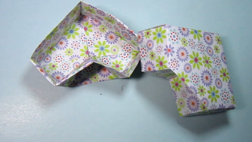 儿童手工折纸收纳盒 心形盒子的折法教程