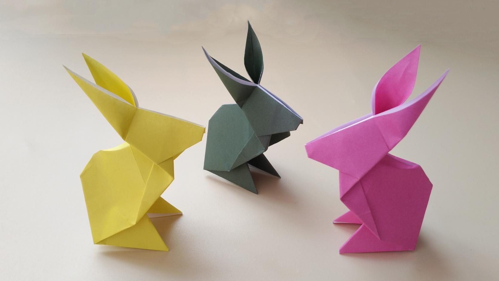 2分钟学会折纸立体小兔子,简单几步就折好了,手工折纸视频