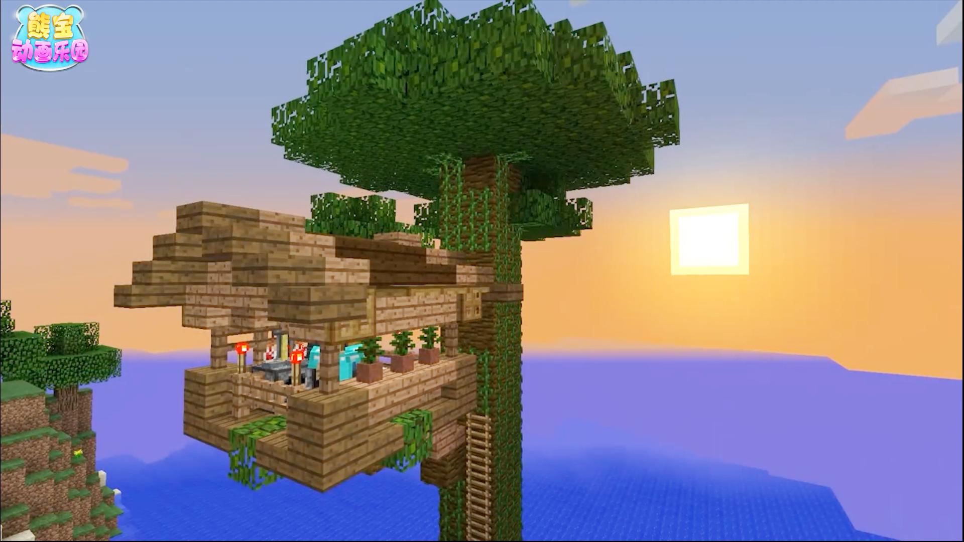 视频:我的世界建筑大师 在海滨打造双层丛林木树屋图片
