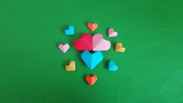 手工折纸 充气的立体爱心 折法超简单