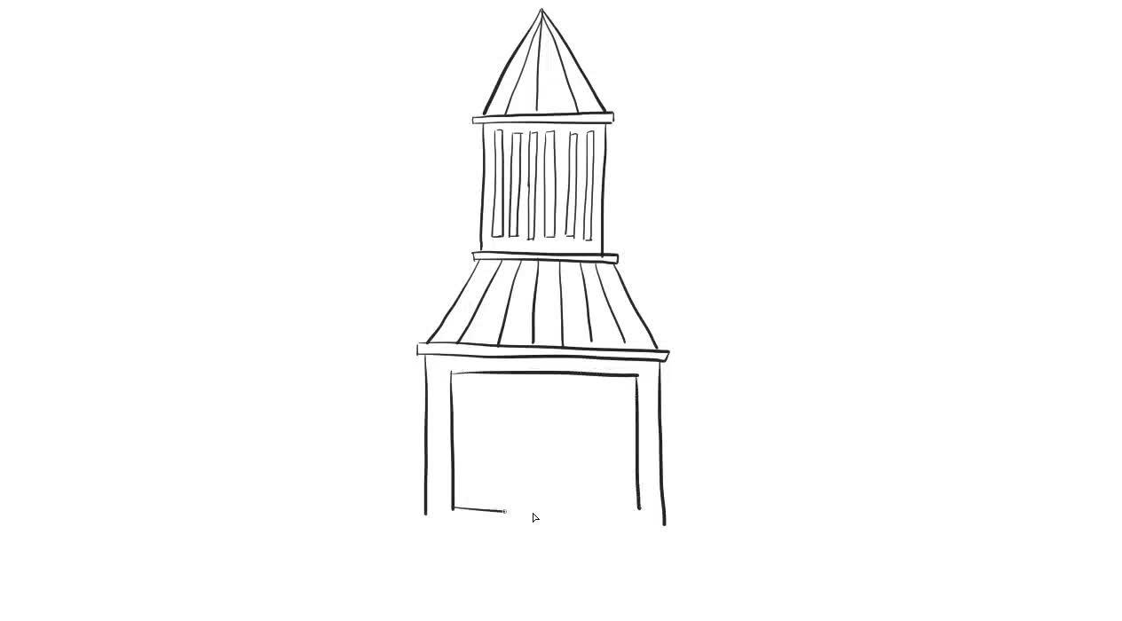 简单的钟楼儿童亲子简笔画