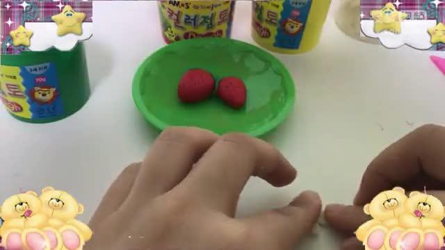 彩泥橡皮泥手工制作草莓花 亲子游戏互动 toy【酷玩世界】-玩具.