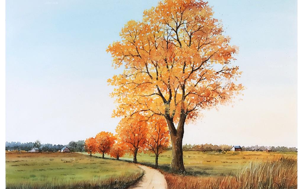 【水彩】米蒂水彩风景 秋天的美景视频教程~学习树的绘画