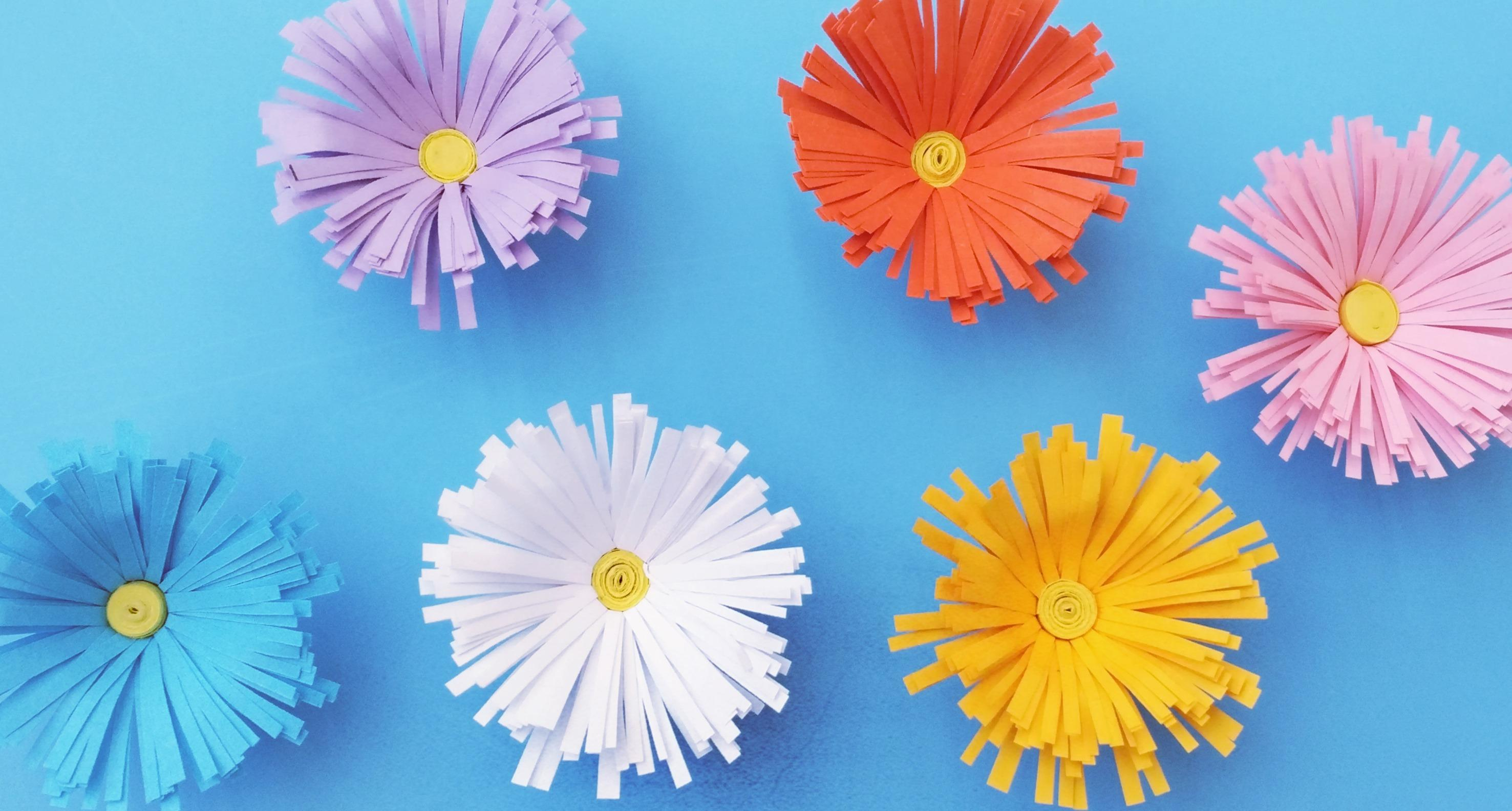 立体小雏菊剪纸花,超简单的手工剪纸,幼儿园节日装饰教室美美哒