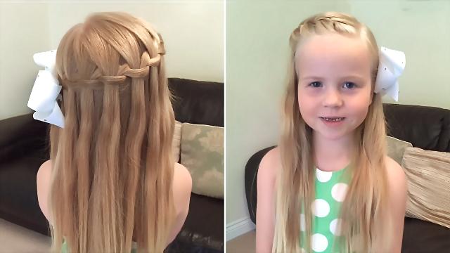 女童最潮发型 荷兰瀑布编发教程视频图片