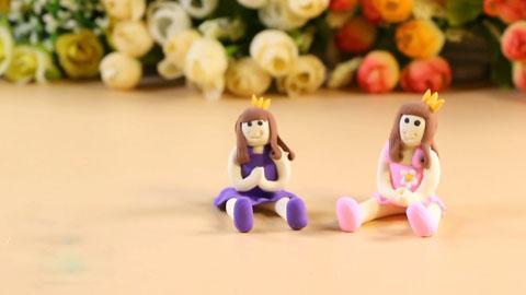 儿童手工用橡皮泥 diy穿裙子的小公主