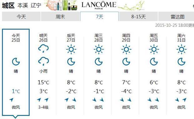 本溪天气预报15天天气预报+