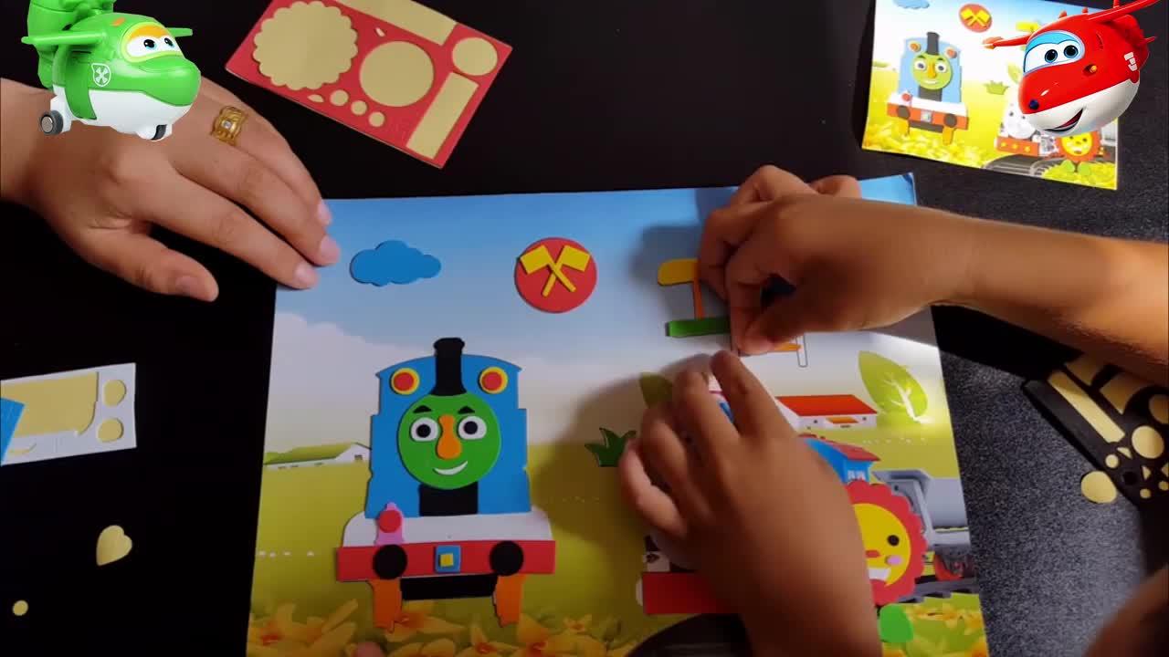 3451奥特曼乐迪亲子儿童手工制作托马斯小火车小猪佩奇立体贴画