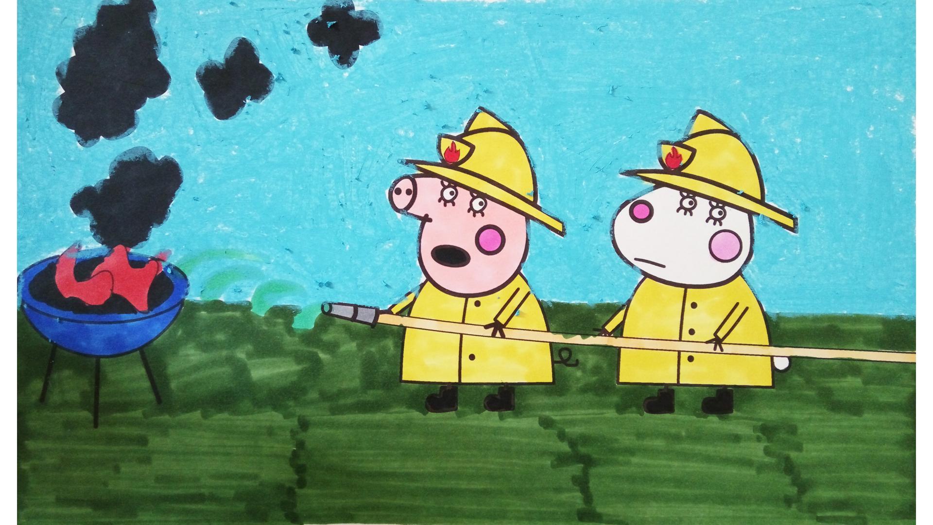 次 消防员灭火简笔画